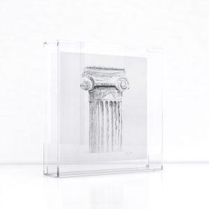 Giclée – silkscreen of Sotiris Sorogas artwork in a plexiglass frame.