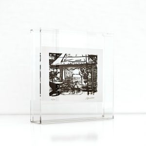 Giclée – Μεταξοτυπία έργου του εικαστικού Νικολάου Κληρονόμου σε Plexiglass κορνίζα και εκτύπωση από το Απόλυτο.